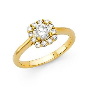 Round Halo Double-Prong Cathedral CZ Wedding Ring